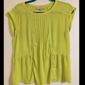Ann Taylor Loft Neon Green Large Blouse